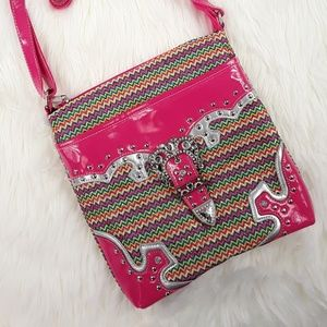 Handbags - Pink Tribal Belt Buckle Crossbody Bag